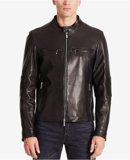 7365770e5 Hugo Boss BOSS Men's Mercedes-Benz Leather Jacket & Reviews - Coats ...