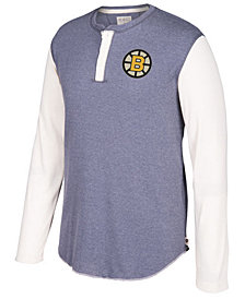 CCM Men's Boston Bruins Long Sleeve Henley Shirt