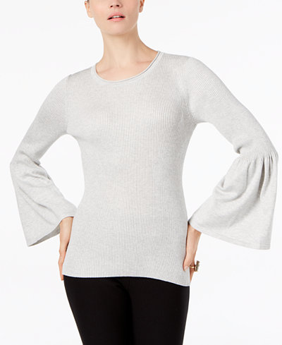 Cable & Gauge Ribbed Lantern-Sleeve Sweater