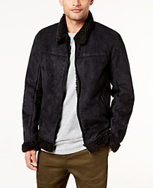 Jaywalker Men's Faux-Suede Fleece-Lined Aviator Jacket