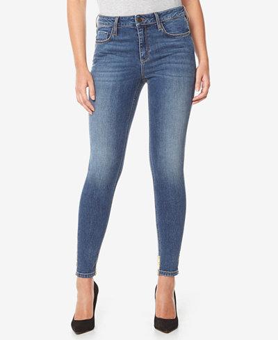 Buffalo David Bitton Faith Sequin-Hem Skinny Jeans