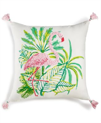 """Flirty Flamingo Graphic-Print 18"""" Square Decorative Pillow, Created for Macy's"""