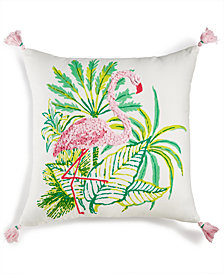 "Whim by Martha Stewart Collection Flirty Flamingo Graphic-Print 18"" Square Decorative Pillow, Created for Macy's"