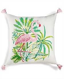 "CLOSEOUT! Whim by Martha Stewart Collection Flirty Flamingo Graphic-Print 18"" Square Decorative Pillow, Created for Macy's"