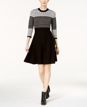 Jessica Howard Fit & Flare Patterned-Knit Sweater Dress 5211512