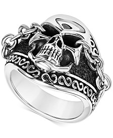 Scott Kay Men's Skull & Chain Ring in Sterling Silver