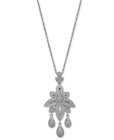 Diamond Dangle Pendant Necklace (1/10 ct. t.w.) in Sterling Silver