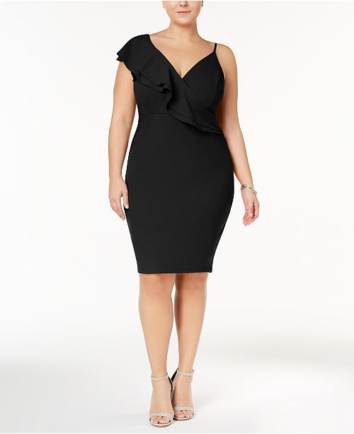Soprano Trendy Plus Size Top Asymmetrical Bodycon Dress Dresses