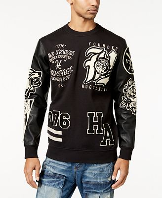 Heritage America Mens Sweater With Faux Leather Sleeves Sweaters