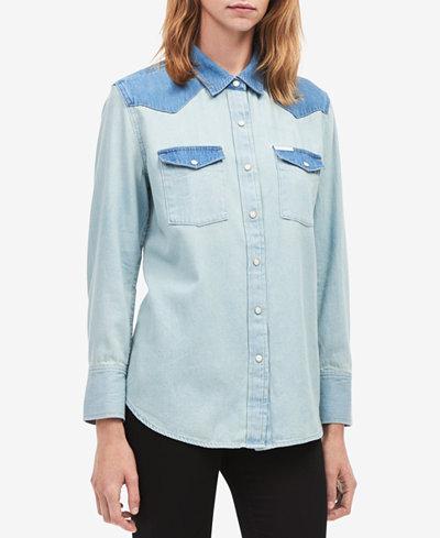 Calvin Klein Jeans Cotton Two-Tone Denim Shirt