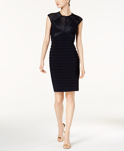Betsy & Adam Petite Banded Open-Back Dress