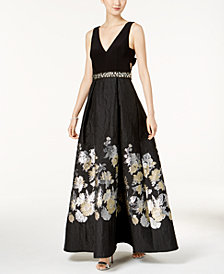 Betsy & Adam Floral-Print Fit & Flare Gown