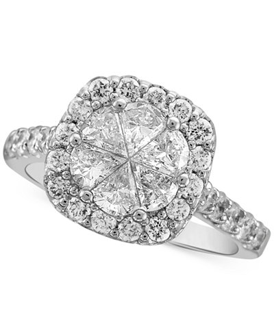 Diamond Halo Engagment Ring (2 ct. t.w.) in 14k White Gold