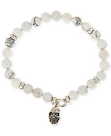 R.T. James Men's Stone & Skull Stretch Bracelet in Silver-Tone Mixed Metal, Created for Macy's