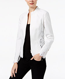 I.N.C. Petite Lace-Inset Jacket, Created for Macy's