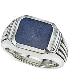 Esquire Men's Jewelry Sodalite Ring in Sterling Silver, Created for Macy's
