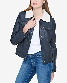 Women's Sherpa Lined Faux Leather Trucker Jacket