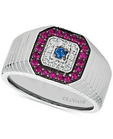 Le Vian® Gents™ Men's Multi-Gemstone & Diamond (1/8 ct. t.w.) Ring in 14k White Gold