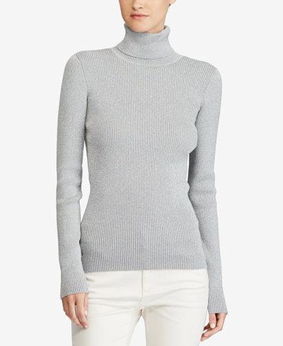 Lauren Ralph Lauren Metallic-Knit Turtleneck Sweater - Sweaters ...