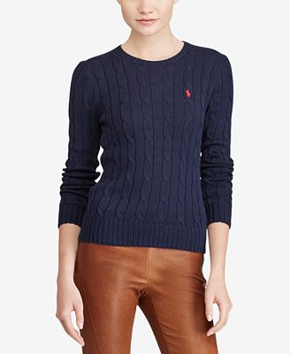 Polo Ralph Lauren Cable-Knit Cotton Sweater - Sweaters - Women ...