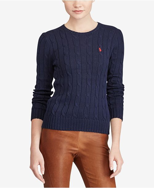 142028ad8f Polo Ralph Lauren Cable-Knit Cotton Sweater   Reviews - Women - Macy s