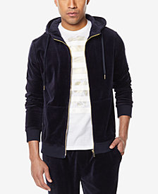 Sean John Men's Big & Tall Travel Velour Zip-Front Hoodie