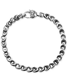 Men's Textured Link Bracelet in Sterling Silver