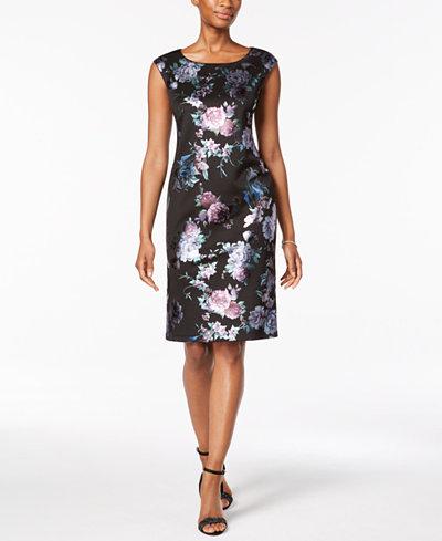 Connected Petite Metallic Jacquard Sheath Dress