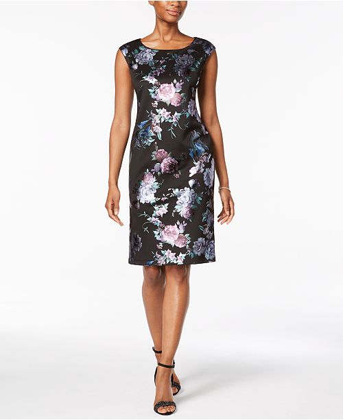 Petite Metallic Jacquard Sheath Dress