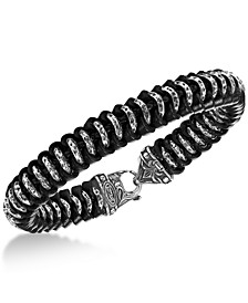 Men's Woven Leather Bracelet in Sterling Silver