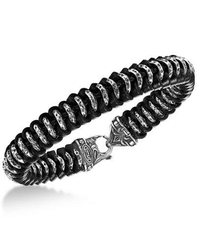 Scott Kay Men's Woven Leather Bracelet in Sterling Silver
