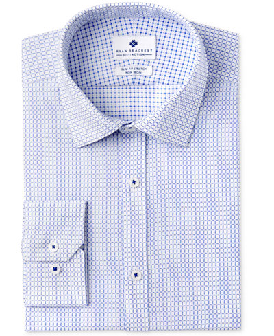 Ryan Seacrest Distinction™ Men's Slim-Fit Stretch Non-Iron Medium Blue Check Dress Shirt, Created for Macy's