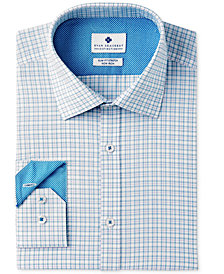 Ryan Seacrest Distinction™ Men's Slim-Fit Stretch Non-Iron Teal Check Dress Shirt, Created for Macy's