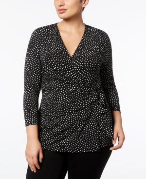 Image of Anne Klein Plus Size Printed Wrap Top