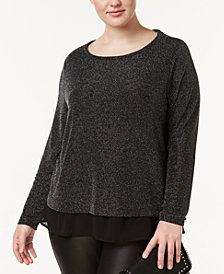 I.N.C. Plus Size Metallic Chiffon-Trimmed Top, Created for Macy's