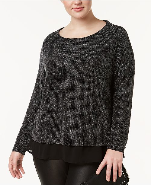 INC International Concepts I.N.C. Plus Size Metallic Chiffon-Trimmed Top, Created for Macy's