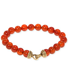 R.T. James Men's Carnelian (8-1/2mm) Beaded Bracelet, Created for Macy's (Also in Sodalite & Reconstituted Blue Stone)