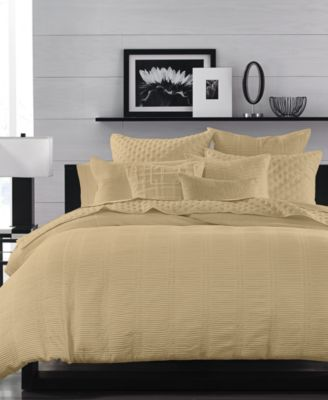 CLOSEOUT!  Pleated Stripe Taupe Full/Queen Duvet Cover, Created for Macy's