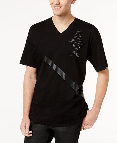 Armani Exchange Men's Single Stripe Studded-Logo V-Neck T-Shirt