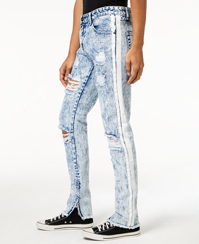 American Stitch Men's Straight-Fit Painted Stripe Destroyed Jeans