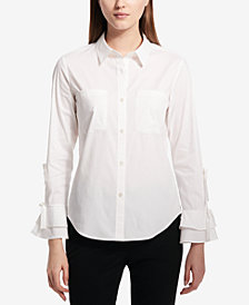 Calvin Klein Bow Ruffle Button-Front Shirt