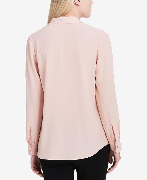 92fbcd30f15e Calvin Klein Pleated Roll-Tab Top   Reviews - Tops - Women - Macy s