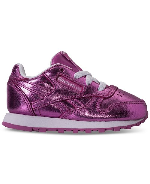 70c007d5e149a ... Reebok Toddler Girls  Classic Leather Metallic Casual Sneakers from  Finish ...