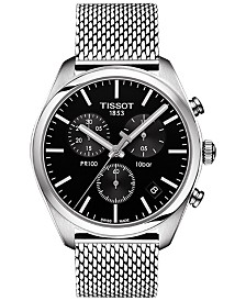 Tissto Men's Swiss Chronograph T-Classic PR 100 Stainless Steel Mesh Bracelet Watch 41mm