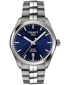 Tissot Men's Swiss T-Classic PR 100 Gray Titanium Bracelet Watch 39mm