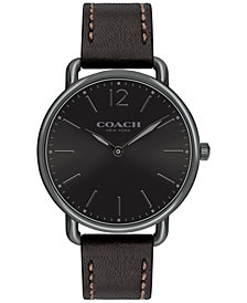 COACH Men's Delancey Slim Black Leather Strap Watch 40mm