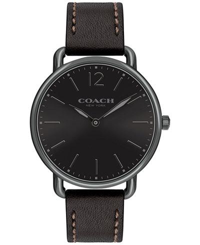 COACH Men's Delancey Slim Black Leather Strap Watch 40mm