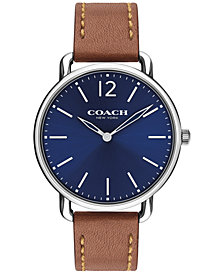 Coach Men's Delancey Slim Saddle Soft Port Leather Strap Watch 40mm