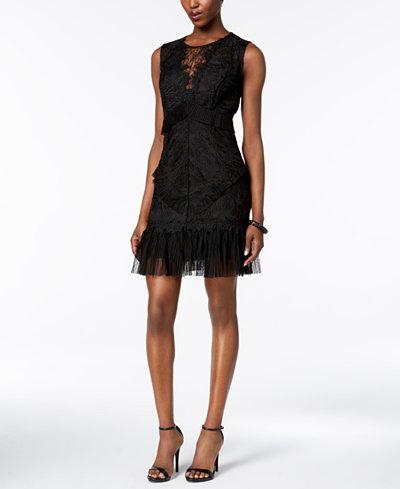 Bardot Lace Pleated Dress