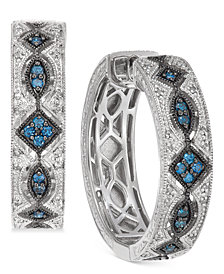 Diamond Patterned Huggie Hoop Earrings (3/8 ct. t.w.) in Sterling Silver